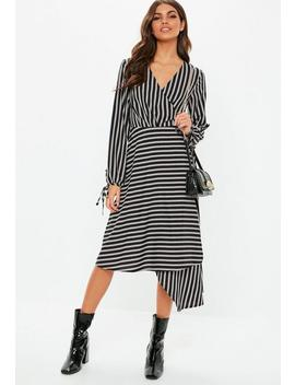Black Wrap Front Balloon Sleeve Stripe Dress by Missguided