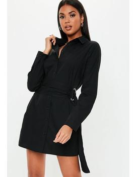 Black Poplin Belted Shirt Dress by Missguided