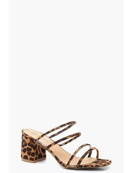 Wide Fit Leopard Clear Strap Block Heel Mules by Boohoo