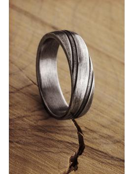 Engraved Silver Ring, Oxidized Silver Design, 925 Sterling Silver Ring, Engraved Lines, Thick Solid Silver Band, Gift For Her, Unisex Rings by Etsy