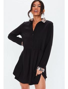 Black Snake Collar Smock Shirt Dress by Missguided