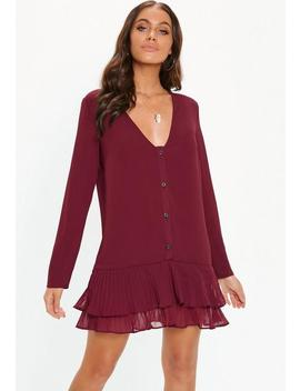 Burgundy Pleated Hem Shift Dress by Missguided