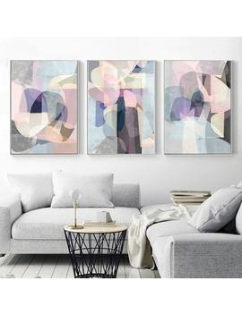 Abstract Print Set Of 3 Digital Prints Pastel Art Mid Century Modern Neutral Wall Art Colorful Artwork Abstract Poster Bedroom Decor 18x24 by Etsy