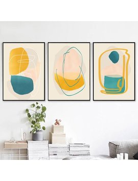 Three Print Set Yellow Blue Wall Art Modern Abstract Art Downloadable Prints Geometric Art Living Room Decor Set Of 3 Wall Art Large Poster by Etsy
