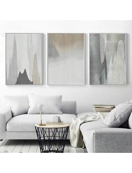 Abstract Poster Set Of 3 Prints Downloadable Art Gray Print Abstract Mountains Modern Mountain Art Neutral Wall Decor Room Artwork Calm Art by Etsy