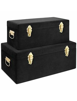 Beautify Black Velvet Decorative Storage Trunk Set With Brass Clasps   College Dorm And Bedroom Footlocker Trunks by Beautify