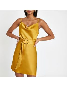 Yellow Cowl Neck Belted Slip Dress by River Island