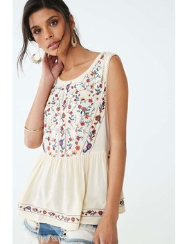 Floral Embroidered Sleeveless Top by Forever 21