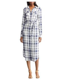Belted Plaid Shirt Dress by Lauren Ralph Lauren
