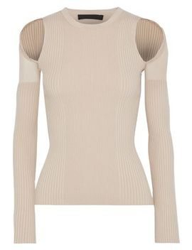 Mesh Trimmed Cutout Ribbed Cotton Blend Top by Alexander Wang