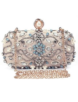 Evening Handbags Diamond Beading Dinner Bags Ladies Pures Hard Shell Clutches For Parties Wedding Clubs   Apricot2 by Uborse