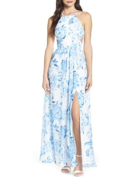 Floral Print Strappy Back Evening Dress by Morgan & Co.