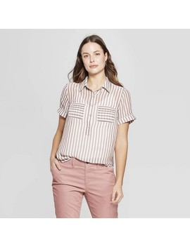 Women's Striped Short Sleeve Button Down Shirt   A New Day™ Brown by A New Day