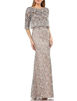 Js Collection Embroidered Lace Scallop Trim Evening Dress by Js Collections