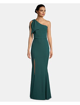 One Shoulder Bow Gown by Betsy & Adam