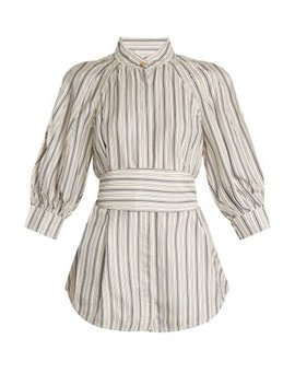 Painted Heart Striped Satin Twill Shirt by Zimmermann
