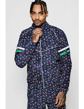 ditsy-floral-needle-cord-zip-jacket by boohoo