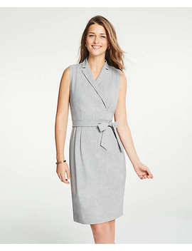 Tall Lapel Belted A Line Dress by Ann Taylor