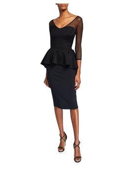 Arquette Illusion 3/4 Sleeve Peplum Cocktail Dress by Chiara Boni La Petite Robe