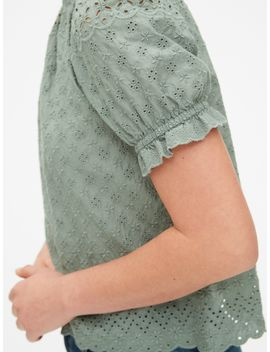 Eyelet Embroidered Short Sleeve Top by Gap