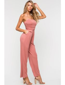 Wide Leg Knit Tube Jumpsuit by A'gaci