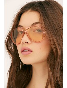 Glinda Rosey Aviator Sunglasses by Free People