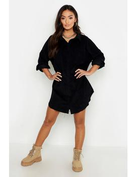 Petite Raw Edge Oversized Cord Shirt by Boohoo