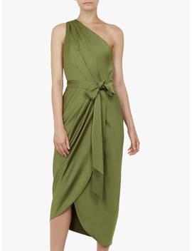 Ted Baker Gabie Tie Waist One Shoulder Dress, Khaki by Ted Baker