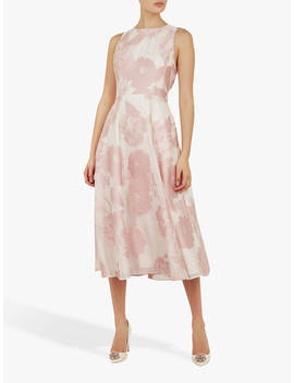 Ted Baker Wylieh Floral Jacquard Midi Dress, Light Pink by Ted Baker