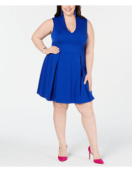 Trendy Plus Size Plunge Neck Skater Dress by City Studios