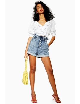 Acid Wash Paperbag Denim Shorts by Topshop