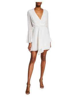 Dotted V Neck Bell Sleeve Drape Front Mini Dress by Jay Godfrey