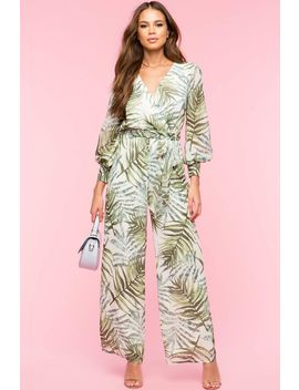 Tropical Leaf Print Surplice Jumpsuit by A'gaci