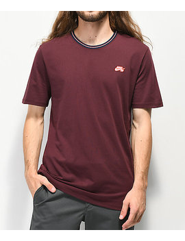 Nike Sb Striped Ribbed Burgundy T Shirt by Nike Sb