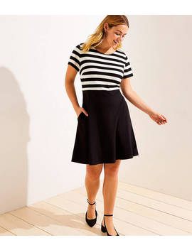 Loft Plus Striped Top Ponte Flare Dress by Loft