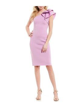 One Ruffled Shoulder Sheath Dress by Eliza J