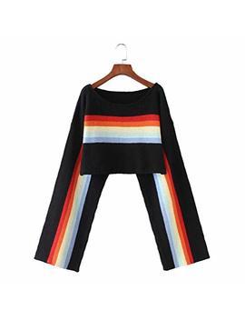 Yaxan Autumn Winter Rainbow Stripe Knitting Women's Low Round Collar Short Cropped Long Sleeve Sweater Pullover Cardigan by Yaxan