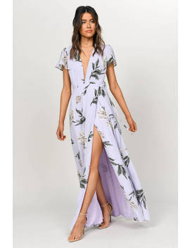 Sara Purple Floral Plunging Maxi Dress by Tobi