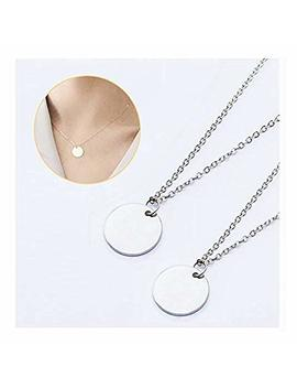 Dainty Small Eternity Disc Necklace Friendship Gift Simple Round Circle Charm Pendant Choker Necklace by Chuyun