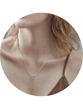 Loyata Moon Pendant Necklace, 14 K Gold Plated New Moon Crescent Moon Full Moon Open Circle Hammered Pendant Necklaces For Women by Loyata