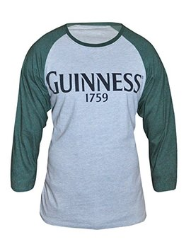 Guinness Green And Grey Heathered Vintage Baseball Tee   Cotton Polyester Raglan Style Long Sleeve T Shirt by Guinness Official Merchandise