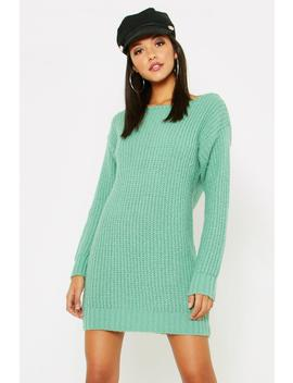 Tall Slash Neck Soft Knit Jumper Dress by Boohoo