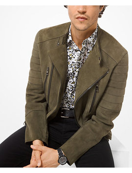 Men's Quilted Suede Moto Jacket by Michael Kors