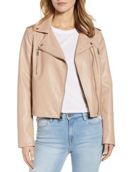 Washed Faux Leather Moto Jacket by Sam Edelman