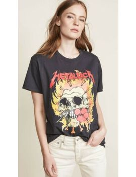 R13 Skull Biker Top S M L Washed Black Rose Teeth Metallica Tee Distressed Nwt by R13