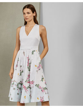 Full Skirted Cotton Dress by Ted Baker