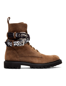 Brown Suede Bandana Combat Boots by Amiri