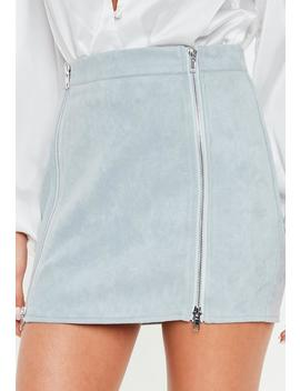 Petite Blue Faux Suede Mini Skirt by Missguided
