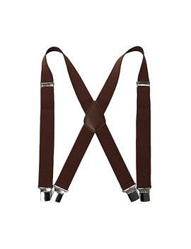 "Men' S X Back Suspenders With 4 Quality Controlled Clips & 1.4"" Wide Braces & Heavy Duty by Hola Amcs"