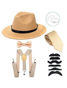 Men's Roaring 1920s Set Manhattan Fedora Hat,Y Back Suspenders & Pre Tied Bow Tie, Gangster Tie & Fake Mustache by Zero Shop